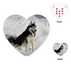 Siberian Husky Sitting in snow Playing Cards (Heart)