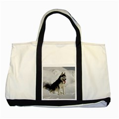 Siberian Husky Sitting in snow Two Tone Tote Bag