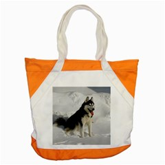 Siberian Husky Sitting in snow Accent Tote Bag