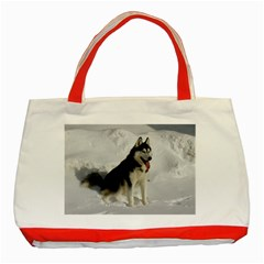 Siberian Husky Sitting in snow Classic Tote Bag (Red)