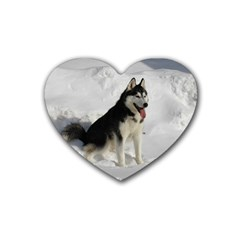 Siberian Husky Sitting in snow Rubber Coaster (Heart)