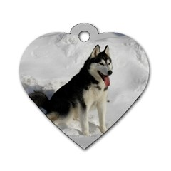 Siberian Husky Sitting in snow Dog Tag Heart (One Side)