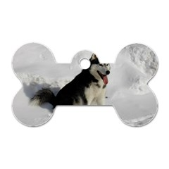 Siberian Husky Sitting in snow Dog Tag Bone (Two Sides)
