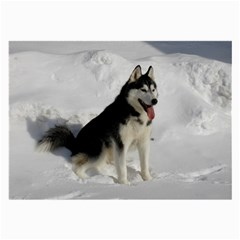 Siberian Husky Sitting in snow Large Glasses Cloth
