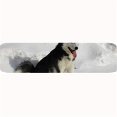Siberian Husky Sitting in snow Large Bar Mats