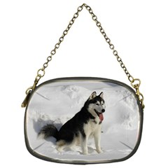 Siberian Husky Sitting in snow Chain Purses (One Side)