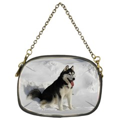 Siberian Husky Sitting in snow Chain Purses (Two Sides)