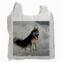 Siberian Husky Sitting in snow Recycle Bag (Two Side)