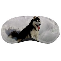Siberian Husky Sitting in snow Sleeping Masks