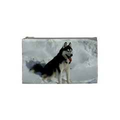 Siberian Husky Sitting in snow Cosmetic Bag (Small)