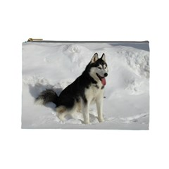 Siberian Husky Sitting in snow Cosmetic Bag (Large)