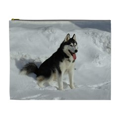 Siberian Husky Sitting in snow Cosmetic Bag (XL)