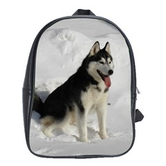 Siberian Husky Sitting in snow School Bags(Large)