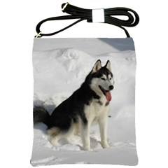 Siberian Husky Sitting in snow Shoulder Sling Bags
