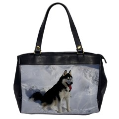 Siberian Husky Sitting in snow Office Handbags