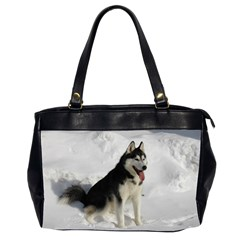 Siberian Husky Sitting in snow Office Handbags (2 Sides)