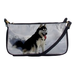 Siberian Husky Sitting in snow Shoulder Clutch Bags