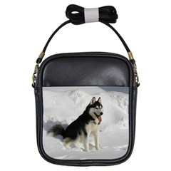 Siberian Husky Sitting in snow Girls Sling Bags