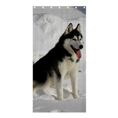 Siberian Husky Sitting in snow Shower Curtain 36  x 72  (Stall)