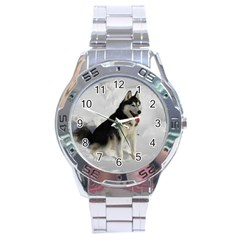Siberian Husky Sitting in snow Stainless Steel Analogue Watch
