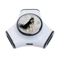 Siberian Husky Sitting in snow 3-Port USB Hub
