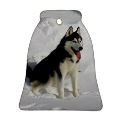 Siberian Husky Sitting in snow Bell Ornament (2 Sides)