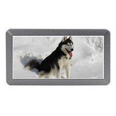 Siberian Husky Sitting in snow Memory Card Reader (Mini)