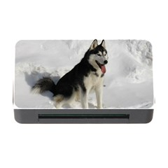 Siberian Husky Sitting in snow Memory Card Reader with CF