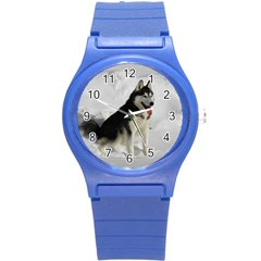 Siberian Husky Sitting in snow Round Plastic Sport Watch (S)