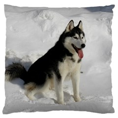 Siberian Husky Sitting in snow Large Cushion Case (Two Sides)