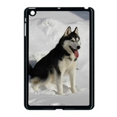 Siberian Husky Sitting in snow Apple iPad Mini Case (Black)