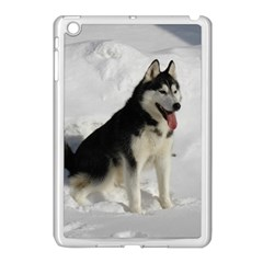 Siberian Husky Sitting in snow Apple iPad Mini Case (White)