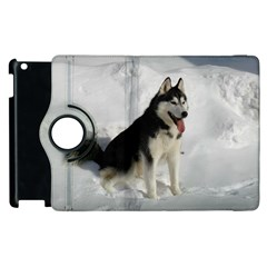 Siberian Husky Sitting in snow Apple iPad 3/4 Flip 360 Case