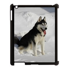 Siberian Husky Sitting in snow Apple iPad 3/4 Case (Black)