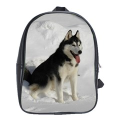 Siberian Husky Sitting in snow School Bags (XL)