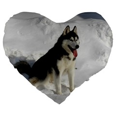 Siberian Husky Sitting in snow Large 19  Premium Heart Shape Cushions