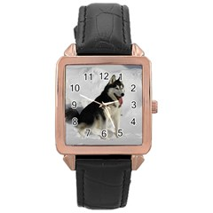 Siberian Husky Sitting in snow Rose Gold Leather Watch
