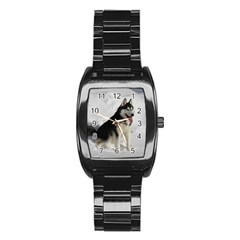 Siberian Husky Sitting in snow Stainless Steel Barrel Watch