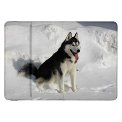 Siberian Husky Sitting in snow Samsung Galaxy Tab 8.9  P7300 Flip Case