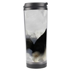 Siberian Husky Sitting in snow Travel Tumbler