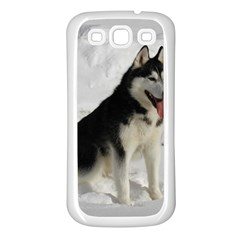 Siberian Husky Sitting in snow Samsung Galaxy S3 Back Case (White)