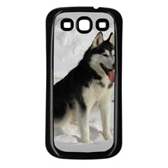 Siberian Husky Sitting in snow Samsung Galaxy S3 Back Case (Black)
