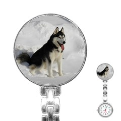 Siberian Husky Sitting in snow Stainless Steel Nurses Watch