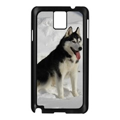 Siberian Husky Sitting in snow Samsung Galaxy Note 3 N9005 Case (Black)