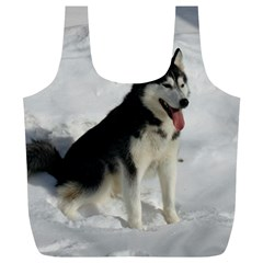 Siberian Husky Sitting in snow Full Print Recycle Bags (L)
