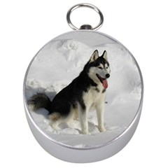 Siberian Husky Sitting in snow Silver Compasses