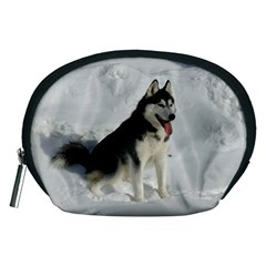 Siberian Husky Sitting in snow Accessory Pouches (Medium)