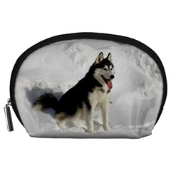 Siberian Husky Sitting in snow Accessory Pouches (Large)