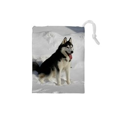 Siberian Husky Sitting in snow Drawstring Pouches (Small)