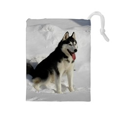 Siberian Husky Sitting in snow Drawstring Pouches (Large)